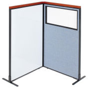 36-1/4W x61-1/2H Deluxe Freestanding 2-Panel Corner Room Divider Whiteboard & Partial window, Blue