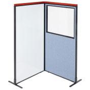 36-1/4W x73-1/2H Deluxe Freestanding 2-Panel Corner Room Divider Whiteboard & Partial window, Blue
