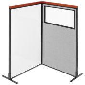 36-1/4W x61-1/2H Deluxe Freestanding 2-Panel Corner Room Divider Whiteboard & Partial window, Gray