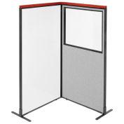 36-1/4W x73-1/2H Deluxe Freestanding 2-Panel Corner Room Divider Whiteboard & Partial window, Gray