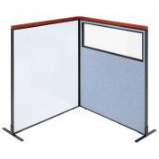 48-1/4W x61-1/2H Deluxe Freestanding 2-Panel Corner Room Divider Whiteboard & Partial window, Blue