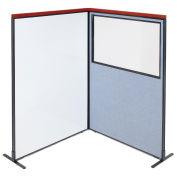 48-1/4W x73-1/2H Deluxe Freestanding 2-Panel Corner Room Divider Whiteboard & Partial window, Blue
