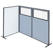 """36-1/4""""W x 60""""H Freestanding 3-Panel Corner Room Divider with Whiteboard & Partial Window, Blue"""