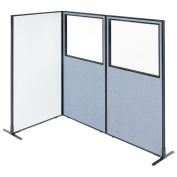 """36-1/4""""W x 72""""H Freestanding 3-Panel Corner Room Divider with Whiteboard & Partial Window, Blue"""