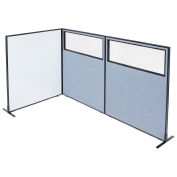 """48-1/4""""W x 60""""H Freestanding 3-Panel Corner Room Divider with Whiteboard & Partial Window, Blue"""