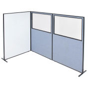 """48-1/4""""W x 72""""H Freestanding 3-Panel Corner Room Divider with Whiteboard & Partial Window, Blue"""