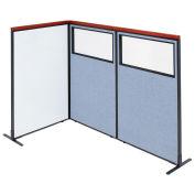 36-1/4W x61-1/2H Deluxe Freestanding 3-Panel Corner Room Divider Whiteboard & Partial Window, Blue