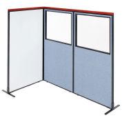 36-1/4W x73-1/2H Deluxe Freestanding 3-Panel Corner Room Divider Whiteboard & Partial Window, Blue