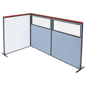 48-1/4W x61-1/2H Deluxe Freestanding 3-Panel Corner Room Divider Whiteboard & Partial Window, Blue