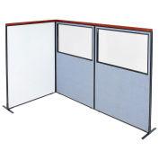 48-1/4W x73-1/2H Deluxe Freestanding 3-Panel Corner Room Divider Whiteboard & Partial Window, Blue