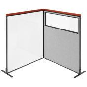 48-1/4W x61-1/2H Deluxe Freestanding 2-Panel Corner Room Divider Whiteboard & Partial window, Gray