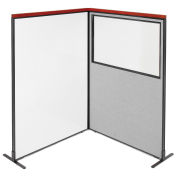 48-1/4W x73-1/2H Deluxe Freestanding 2-Panel Corner Room Divider Whiteboard & Partial window, Gray