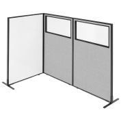 """36-1/4""""W x 60""""H Freestanding 3-Panel Corner Room Divider with Whiteboard & Partial Window, Gray"""