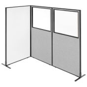"""36-1/4""""W x 72""""H Freestanding 3-Panel Corner Room Divider with Whiteboard & Partial Window, Gray"""