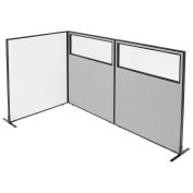 """48-1/4""""W x 60""""H Freestanding 3-Panel Corner Room Divider with Whiteboard & Partial Window, Gray"""