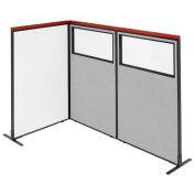 36-1/4W x61-1/2H Deluxe Freestanding 3-Panel Corner Room Divider Whiteboard & Partial Window, Gray