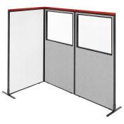 36-1/4W x73-1/2H Deluxe Freestanding 3-Panel Corner Room Divider Whiteboard & Partial Window, Gray