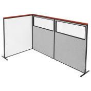 48-1/4W x61-1/2H Deluxe Freestanding 3-Panel Corner Room Divider Whiteboard & Partial Window, Gray