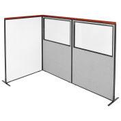 48-1/4W x73-1/2H Deluxe Freestanding 3-Panel Corner Room Divider Whiteboard & Partial Window, Gray