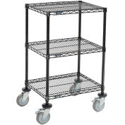 "Mobile 3-Shelf Wire Printer Stand, 24""W x 18""D x 39""H, Black"
