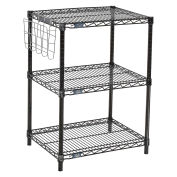 "Black Wire Shelf Printer Stand with Document Holder, 3-Shelf, 24""W x 18""D x 34""H"