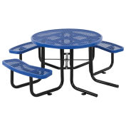 "46"" ADA Round Picnic Table, Surface Mount, Blue"