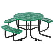"46"" ADA Round Picnic Table, Surface Mount, Green"