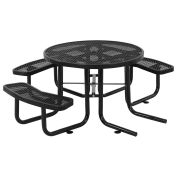 "46"" ADA Round Picnic Table, Surface Mount, Black"