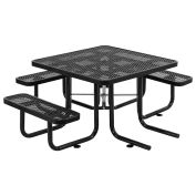 """46"""" ADA Square Picnic Table, Surface Mount, Black"""