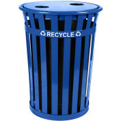 Witt Industries M3601-FTL2H-BL Recycling Flat Top Lid w/2 Hole Opening, Blue