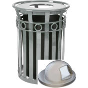 Witt Industries M3600-R-DT-SLV Oakley 36 Gal. Decorative Slatted Steel Receptacle w/Dome Top, Silver