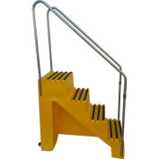 "4 Step Plastic Step Stand, 22""W x 43""D x 39""H, Yellow"