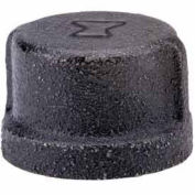 "1-1/4"" Black Malleable Cap, Lead Free, 150 PSI"