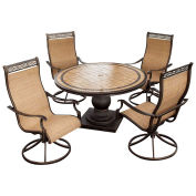 Monaco 5-Piece Outdoor Dining Set with Four Swivel Rockers & Round Table