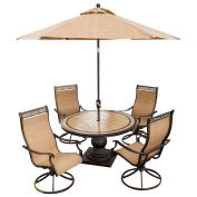 Monaco 5-Piece Outdoor Swivel Chair Dining Set with Umbrella
