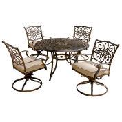 Traditions 5-Piece Outdoor Swivel Chair Dining Set