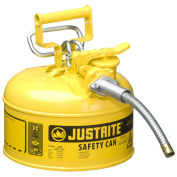 "Justrite 7210220 Type II AccuFlow Steel Safety Can, 1 Gal., 5/8"" Metal Hose, Yellow"