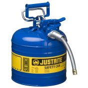"Justrite 7220320 Type II AccuFlow Steel Safety Can, 2 Gal., 5/8"" Metal Hose, Blue"