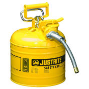 "Justrite 7220220 Type II AccuFlow Steel Safety Can, 2 Gal., 5/8"" Metal Hose, Yellow"