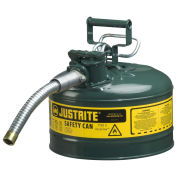 "Justrite 7225430 Type II AccuFlow Steel Safety Can, 2.5 Gal., 1"" Metal Hose, Green"
