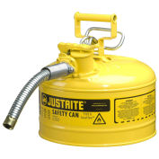 "Justrite 7225230 Type II AccuFlow Steel Safety Can, 2.5 Gal., 1"" Metal Hose, Yellow"