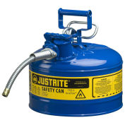 "Justrite 7225320 Type II AccuFlow Steel Safety Can, 2.5 Gal., 5/8"" Metal Hose, Blue"