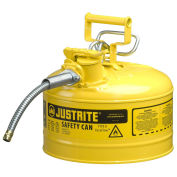 "Justrite 7225220 Type II AccuFlow Steel Safety Can, 2.5 Gal., 5/8"" Metal Hose, Yellow"