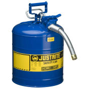 "Justrite 7250330 Type II AccuFlow Steel Safety Can, 5 Gal., 1"" Metal Hose, Blue"