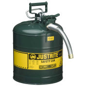 "Justrite 7250430 Type II AccuFlow Steel Safety Can, 5 Gal., 1"" Metal Hose, Green"