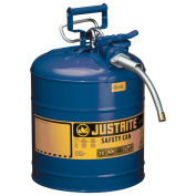 "Justrite 7250320 Type II AccuFlow Steel Safety Can, 5 Gal., 5/8"" Metal Hose, Blue"