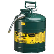 "Justrite 7250420 Type II AccuFlow Steel Safety Can, 5 Gal., 5/8"" Metal Hose, Green"