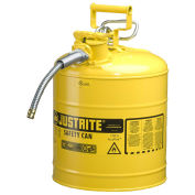 "Justrite 7250220 Type II AccuFlow Steel Safety Can, 5 Gal., 5/8"" Metal Hose, Yellow"