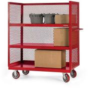 """3-Sided All-Welded Trucks - 36""""Wx18""""D Shelf - 3 Shelves - Yellow"""