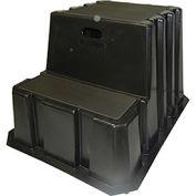 "2 Step Nestable Plastic Step Stand - Black 25-3/4""W x 32-3/4""D x 20-1/2""H"